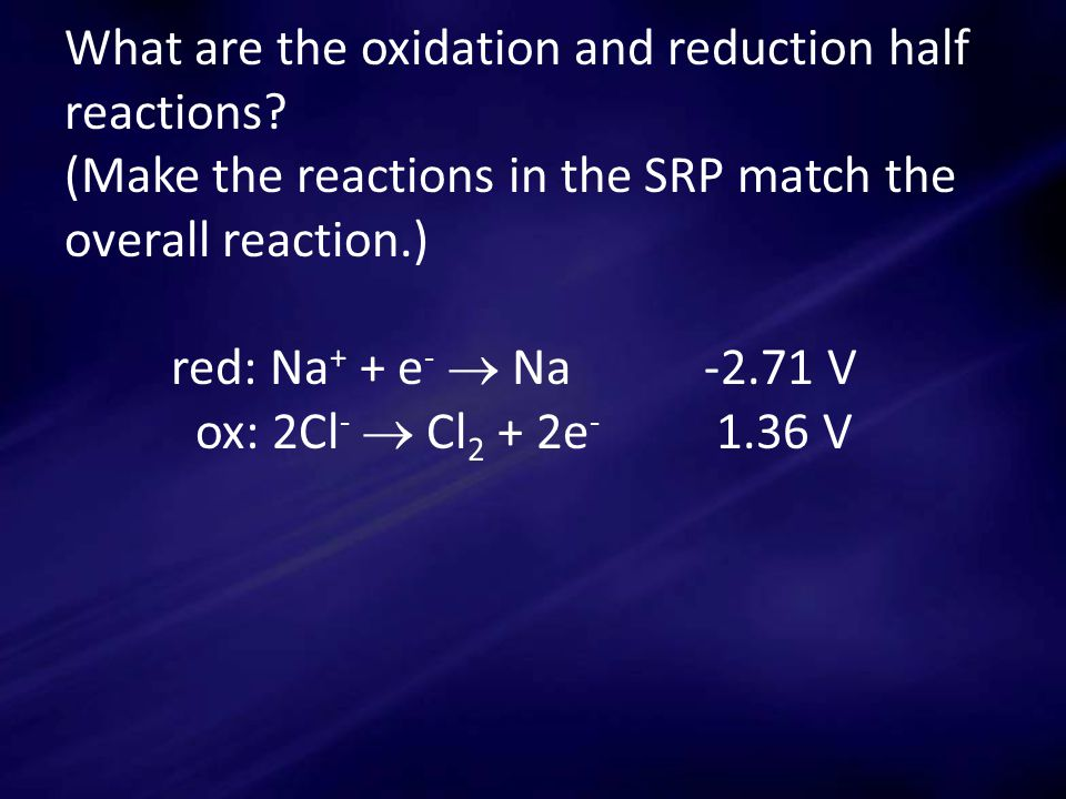 What are the oxidation and reduction half reactions.