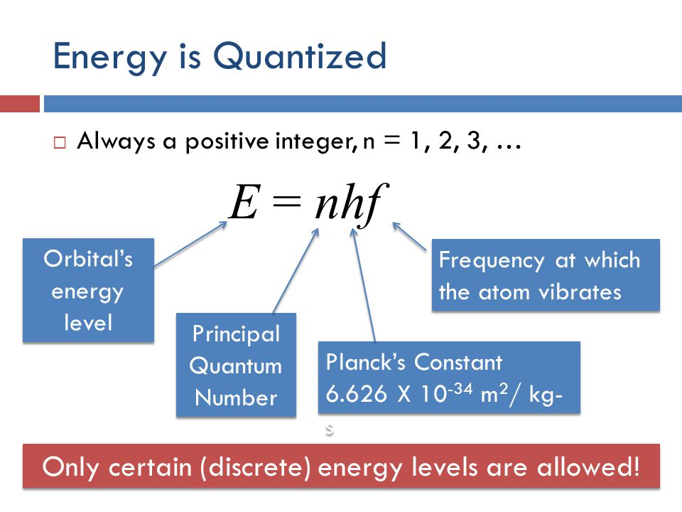 Energy is Quantized  Always a positive integer, n = 1, 2, 3, … E = nhf Orbital's energy level Principal Quantum Number Planck's Constant 6.626 X 10 -34 m 2 / kg- s Planck's Constant 6.626 X 10 -34 m 2 / kg- s Frequency at which the atom vibrates Only certain (discrete) energy levels are allowed!