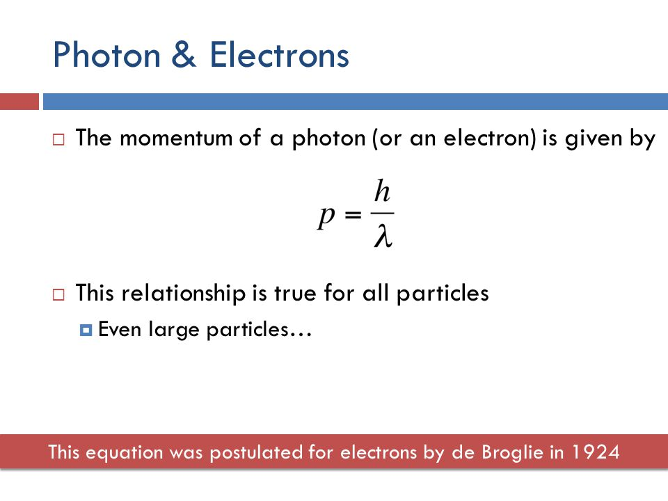 Photon & Electrons  The momentum of a photon (or an electron) is given by  This relationship is true for all particles  Even large particles… This equation was postulated for electrons by de Broglie in 1924