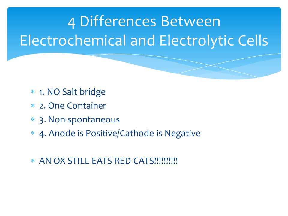  1. NO Salt bridge  2. One Container  3. Non-spontaneous  4. Anode is Positive/Cathode is Negative  AN OX STILL EATS RED CATS!!!!!!!!!! 4 Differe