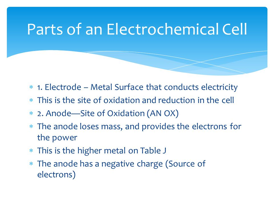  1. Electrode – Metal Surface that conducts electricity  This is the site of oxidation and reduction in the cell  2. Anode—Site of Oxidation (AN OX