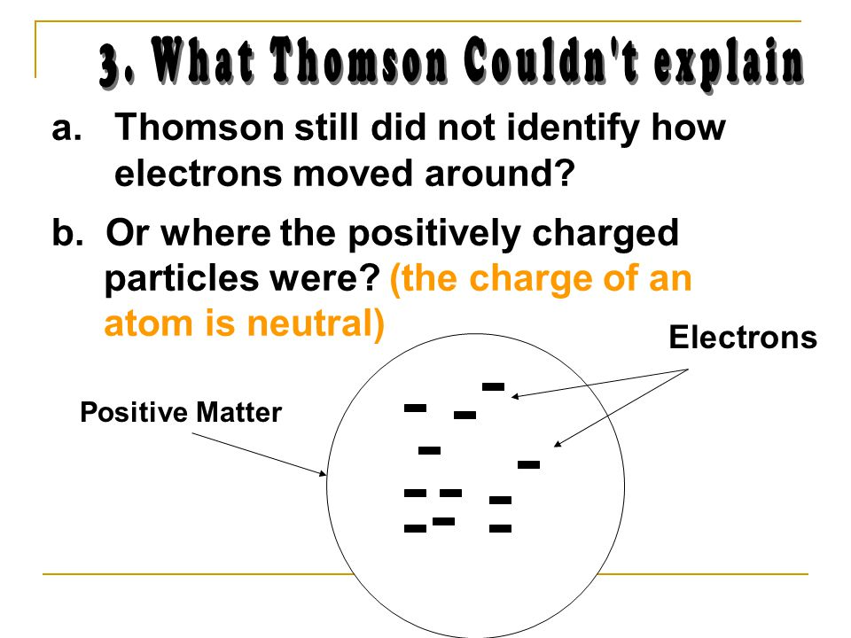 Positive Matter a. Thomson still did not identify how electrons moved around.