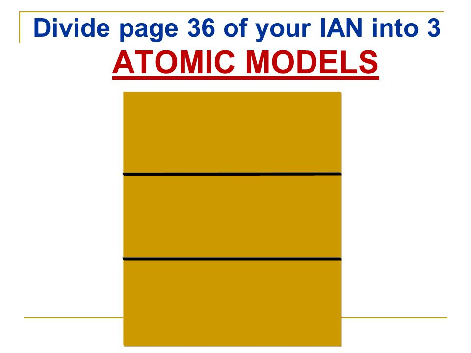 Divide page 36 of your IAN into 3 ATOMIC MODELS