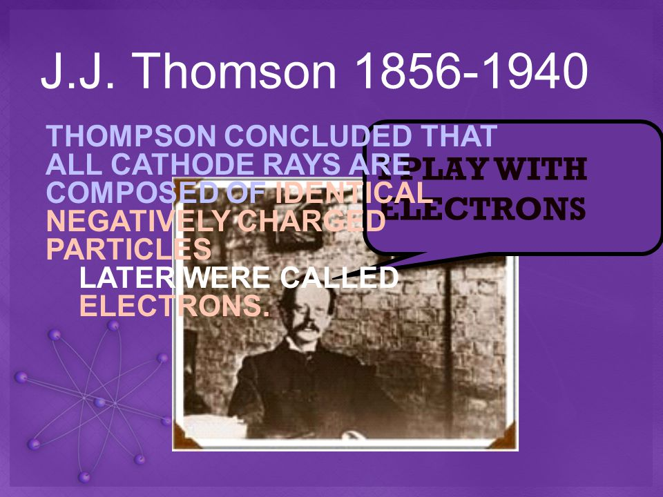 J.J. Thomson 1856-1940 I PLAY WITH ELECTRONS THOMPSON CONCLUDED THAT ALL CATHODE RAYS ARE COMPOSED OF IDENTICAL NEGATIVELY CHARGED PARTICLES LATER WER