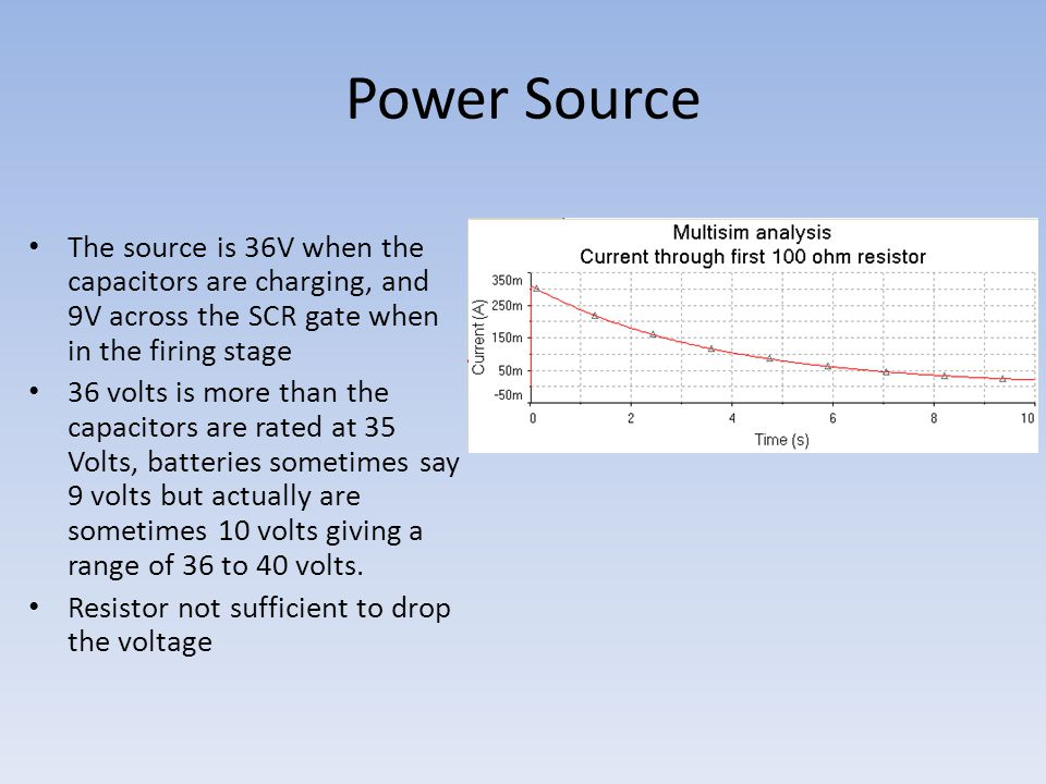 Power Source The source is 36V when the capacitors are charging, and 9V across the SCR gate when in the firing stage 36 volts is more than the capacitors are rated at 35 Volts, batteries sometimes say 9 volts but actually are sometimes 10 volts giving a range of 36 to 40 volts.