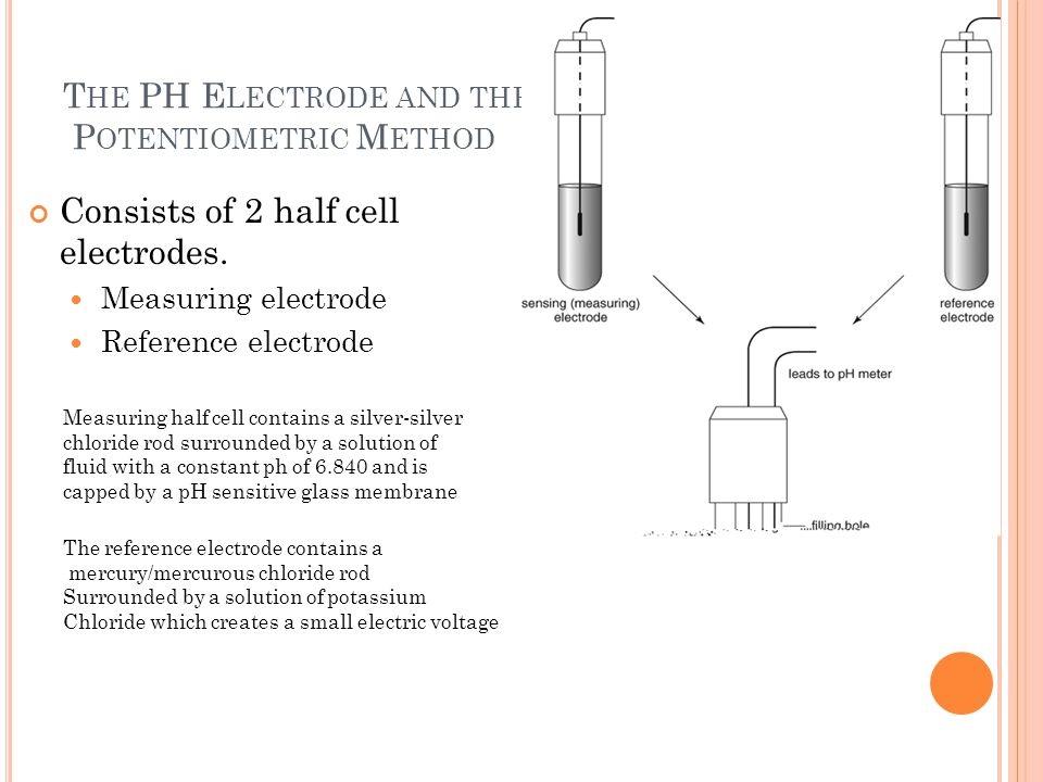 T HE PH E LECTRODE AND THE P OTENTIOMETRIC M ETHOD Consists of 2 half cell electrodes.