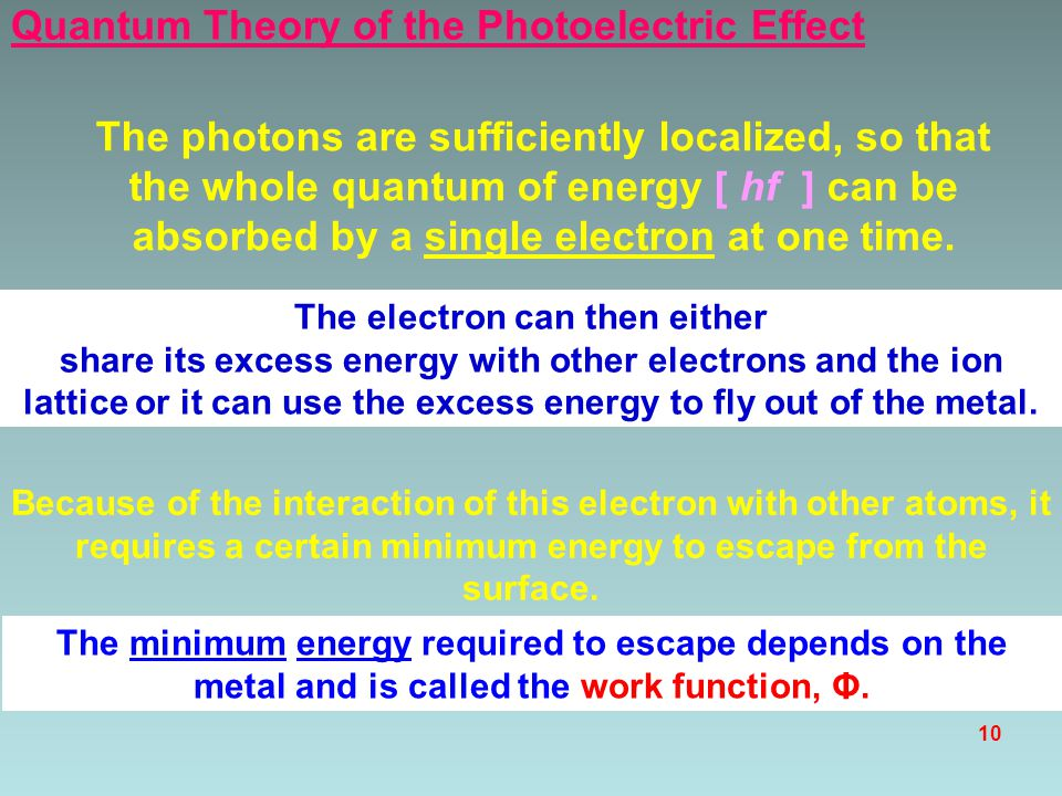 9 the visible spectrum λ frequency violet light light 400 nm red light light 700 nm uv light < 400 nm Blue photon Red photon Which photon has the most