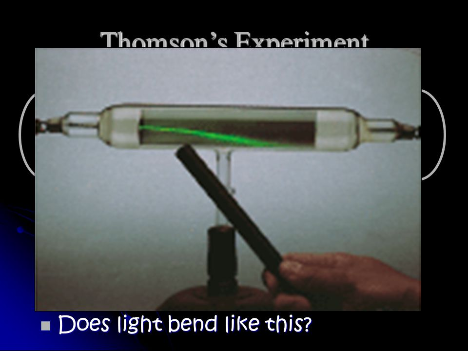 Thomson's Experiment n Thomson found that cathode rays were deflected from a negatively- charged plate.