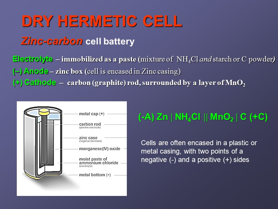 Zinc-carbon Zinc-carbon cell battery Electrolyte – immobilized as a paste (mixture of NH 4 Cl and starch or C powder) (–) Anode – zinc box (cell is encased in Zinc casing) (+) Cathode – carbon (graphite) rod, surrounded by a layer of MnO 2 (-A) Zn  NH 4 Cl  MnO 2  C (+C) DRY HERMETIC CELL Cells are often encased in a plastic or metal casing, with two points of a negative (-) and a positive (+) sides