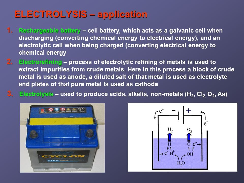 ELECTROLYSIS – application 1. Rechargeablebattery 1.