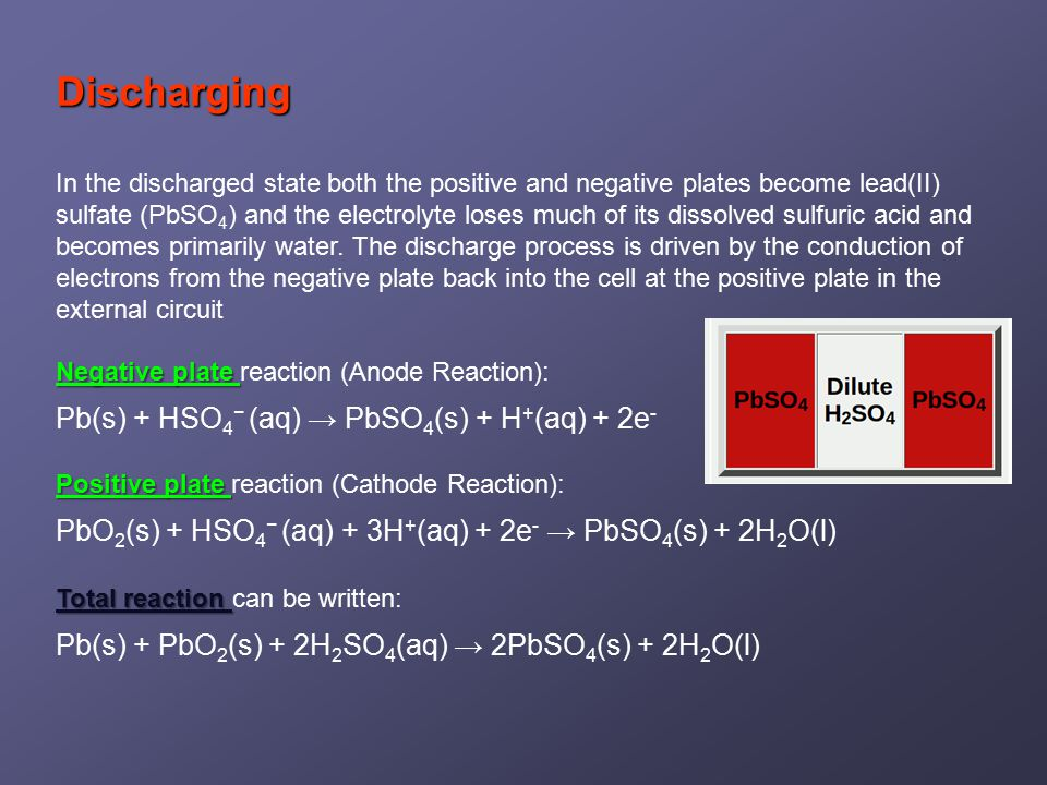 Discharging In the discharged state both the positive and negative plates become lead(II) sulfate (PbSO 4 ) and the electrolyte loses much of its dissolved sulfuric acid and becomes primarily water.