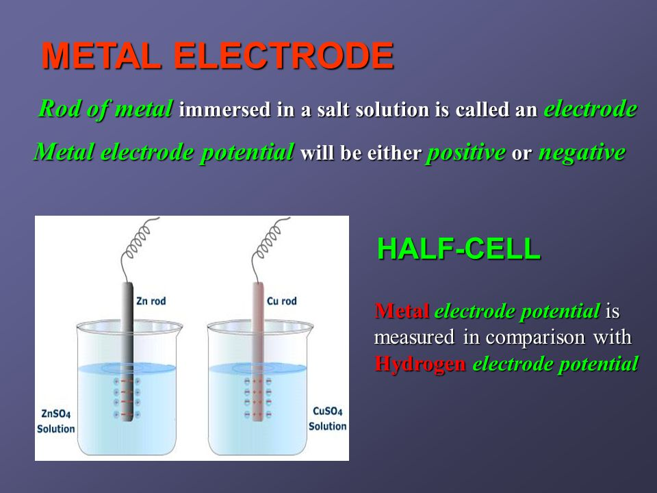 Rod of metal immersed in a salt solution is called an electrode METAL ELECTRODE HALF-CELL Metal electrode potential will be either positive or negative Metal electrode potential is measured in comparison with Hydrogen electrode potential