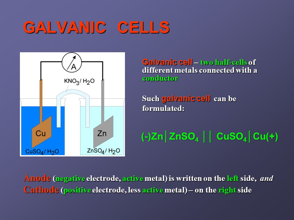 GALVANIC CELLS Anode (negative electrode, active metal) is written on the left side, and Cathode (positive electrode, less active metal) – on the right side Such galvanic cell can be formulated: (-)Zn│ZnSO 4 ││ CuSO 4 │Cu(+) Galvanic cell – two half-cells of different metals connected with a conductor