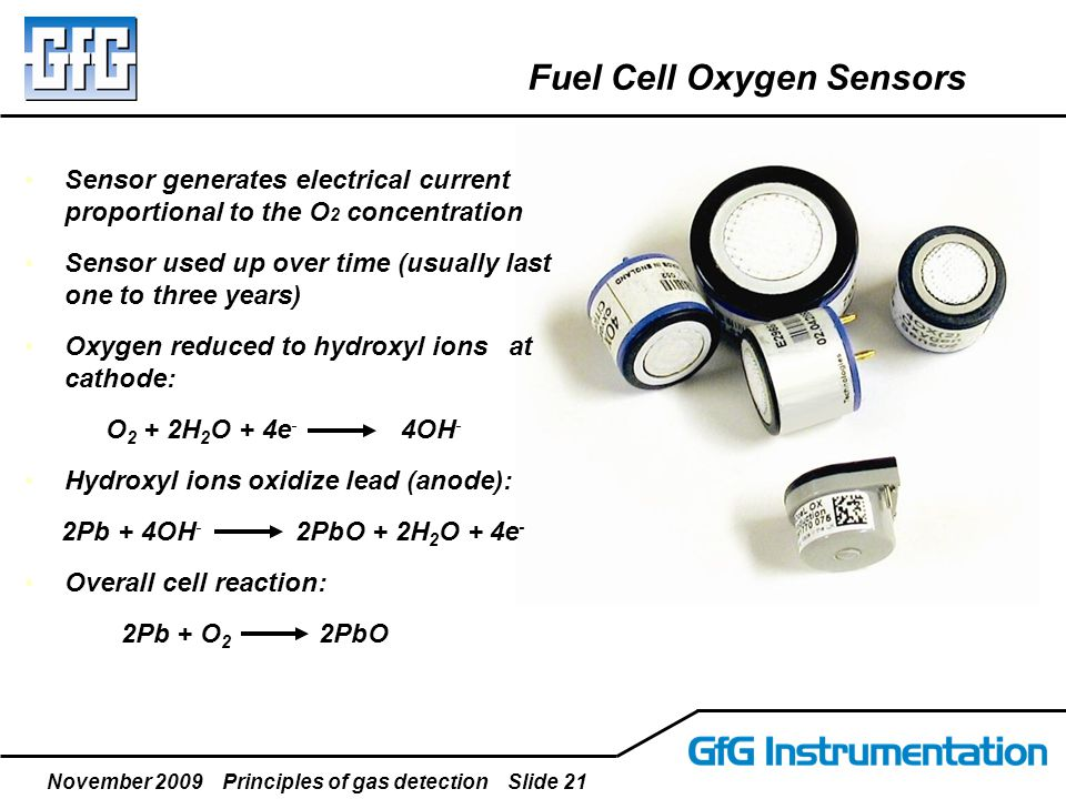 November 2009 Principles of gas detection Slide 21 Fuel Cell Oxygen Sensors Sensor generates electrical current proportional to the O 2 concentration