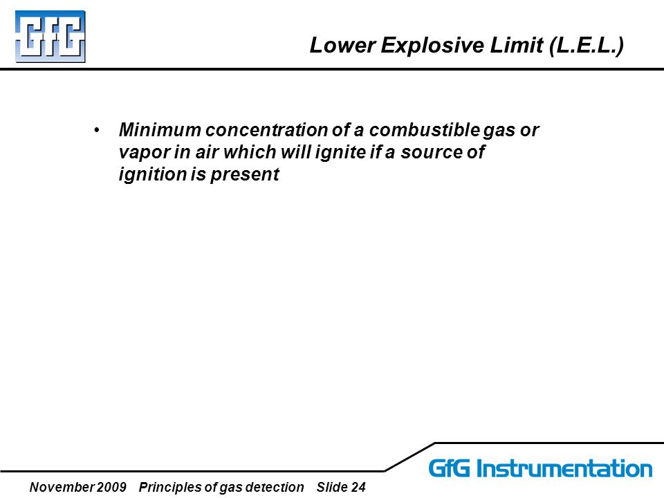 November 2009 Principles of gas detection Slide 24 Lower Explosive Limit (L.E.L.) Minimum concentration of a combustible gas or vapor in air which wil
