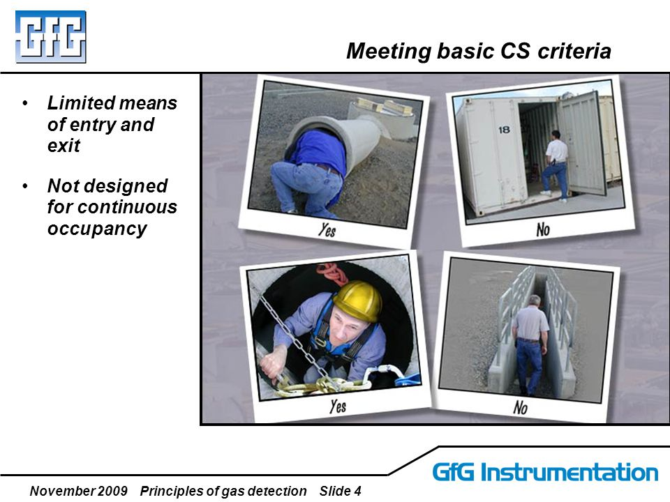 November 2009 Principles of gas detection Slide 4 Meeting basic CS criteria Limited means of entry and exit Not designed for continuous occupancy