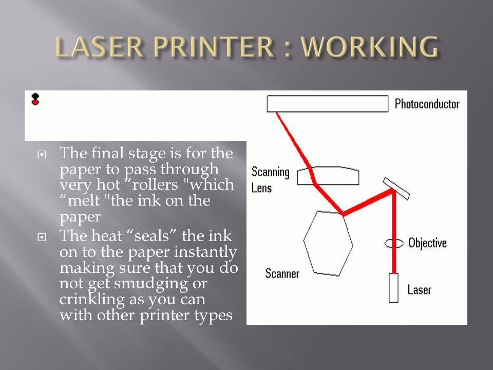  The final stage is for the paper to pass through very hot rollers which melt the ink on the paper  The heat seals the ink on to the paper instantly making sure that you do not get smudging or crinkling as you can with other printer types