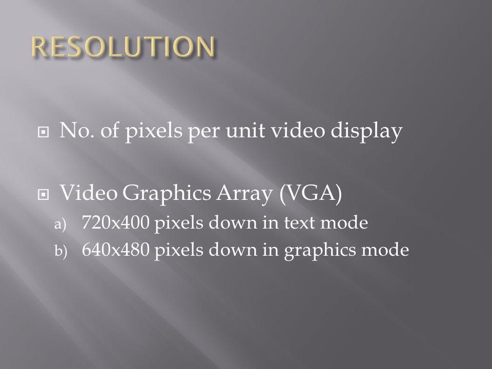  No. of pixels per unit video display  Video Graphics Array (VGA) a) 720x400 pixels down in text mode b) 640x480 pixels down in graphics mode