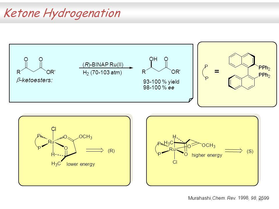 38 Ketone Hydrogenation ROR OO ROR OHO (R)-BINAP Ru(II) H 2 (70-103 atm) 93-100 % yield 98-100 % ee  -ketoesters: Ru Ru P P O O Cl H H 3 C OCH 3 (R) P P Cl H O O OCH 3 (S) higher energy Murahashi,Chem.
