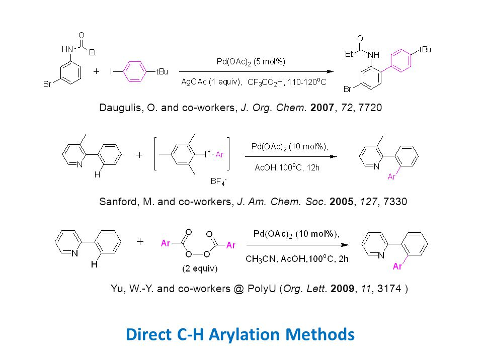 Direct C-H Arylation Methods Daugulis, O. and co-workers, J.