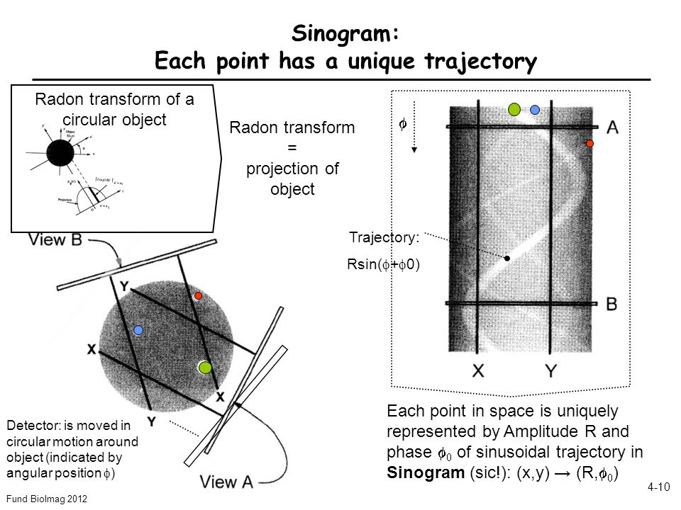 Fund BioImag 2012 4-10 Sinogram: Each point has a unique trajectory Detector: is moved in circular motion around object (indicated by angular position  ) Each point in space is uniquely represented by Amplitude R and phase   of sinusoidal trajectory in Sinogram (sic!): (x,y) → (R,   )  Radon transform of a circular object Radon transform = projection of object Trajectory: Rsin(  +  0)
