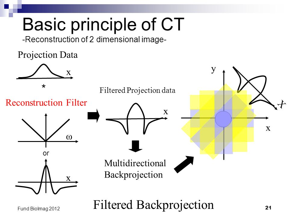 21 Fund BioImag 2012 Basic principle of CT -Reconstruction of 2 dimensional image- Filtered Backprojection Projection Data x y * x Multidirectional Backprojection Reconstruction Filter ω or x Filtered Projection data x X