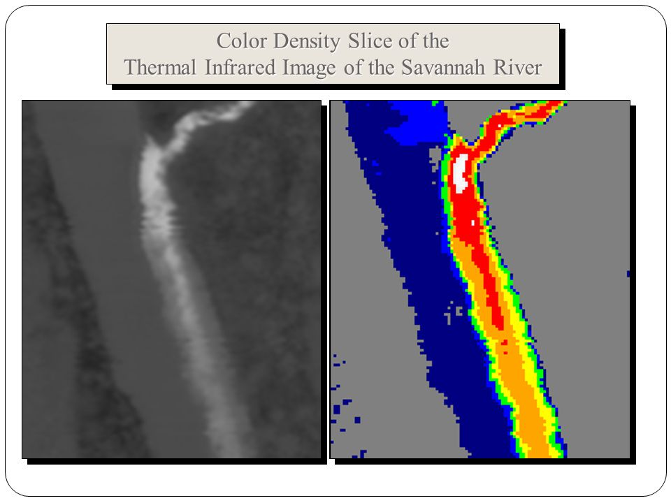 Color Density Slice of the Thermal Infrared Image of the Savannah River Color Density Slice of the Thermal Infrared Image of the Savannah River