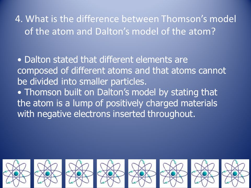 4.What is the difference between Thomson's model of the atom and Dalton's model of the atom.