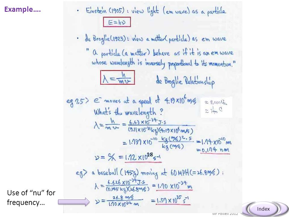 """Mr Powell 2012 Index Example…. Use of """"nu"""" for frequency… 18"""