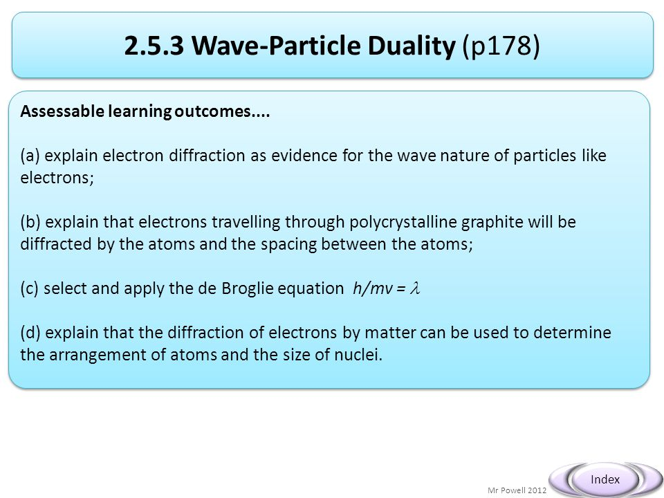 Mr Powell 2012 Index 2.5.3 Wave-Particle Duality (p178) Assessable learning outcomes.... (a) explain electron diffraction as evidence for the wave nat