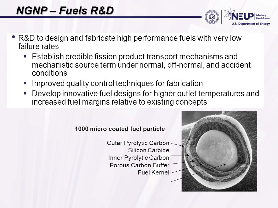 R&D to design and fabricate high performance fuels with very low failure rates  Establish credible fission product transport mechanisms and mechanistic source term under normal, off-normal, and accident conditions  Improved quality control techniques for fabrication  Develop innovative fuel designs for higher outlet temperatures and increased fuel margins relative to existing concepts Outer Pyrolytic Carbon Silicon Carbide Inner Pyrolytic Carbon Porous Carbon Buffer Fuel Kernel 1000 micro coated fuel particle NGNP – Fuels R&D