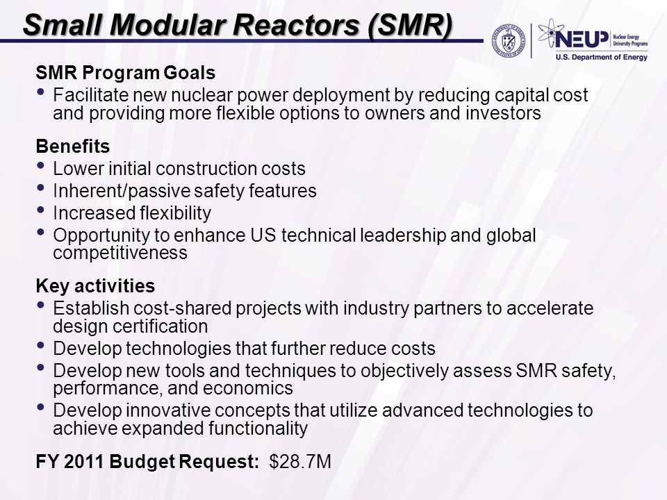 Small Modular Reactors (SMR) SMR Program Goals Facilitate new nuclear power deployment by reducing capital cost and providing more flexible options to owners and investors Benefits Lower initial construction costs Inherent/passive safety features Increased flexibility Opportunity to enhance US technical leadership and global competitiveness Key activities Establish cost-shared projects with industry partners to accelerate design certification Develop technologies that further reduce costs Develop new tools and techniques to objectively assess SMR safety, performance, and economics Develop innovative concepts that utilize advanced technologies to achieve expanded functionality FY 2011 Budget Request: $28.7M