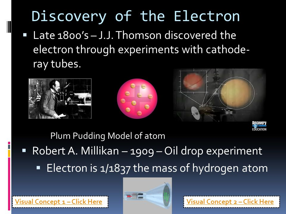 Discovery of the Electron  Late 1800's – J.J. Thomson discovered the electron through experiments with cathode- ray tubes.  Robert A. Millikan – 190