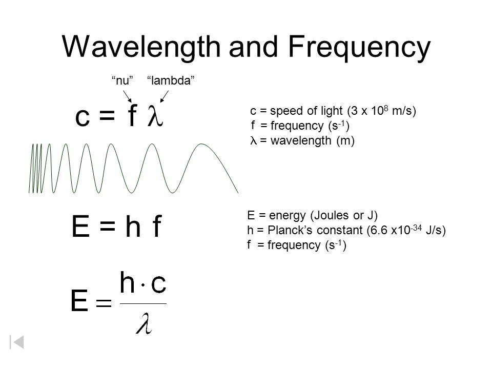 Wavelength and Frequency E = h c =  c = speed of light (3 x 10 8 m/s) = frequency (s -1 )  = wavelength (m) E = energy (Joules or J) h  = Planck's