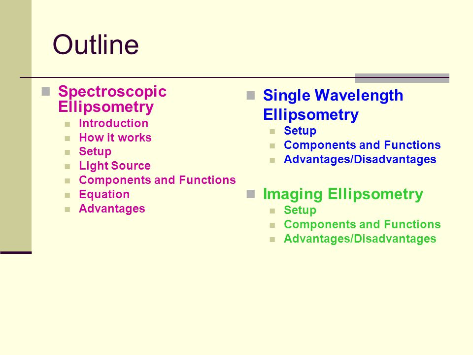 Outline Spectroscopic Ellipsometry Introduction How it works Setup Light Source Components and Functions Equation Advantages Single Wavelength Ellipsometry Setup Components and Functions Advantages/Disadvantages Imaging Ellipsometry Setup Components and Functions Advantages/Disadvantages