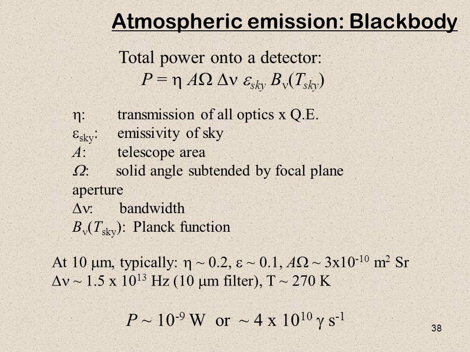 38 Total power onto a detector: P =  A  sky  B (T sky )  : transmission of all optics x Q.E.  sky : emissivity of sky A: telescope area  :