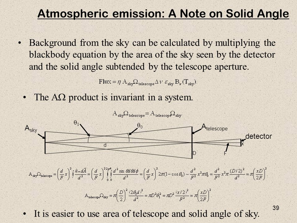 39 Atmospheric emission: A Note on Solid Angle Background from the sky can be calculated by multiplying the blackbody equation by the area of the sky