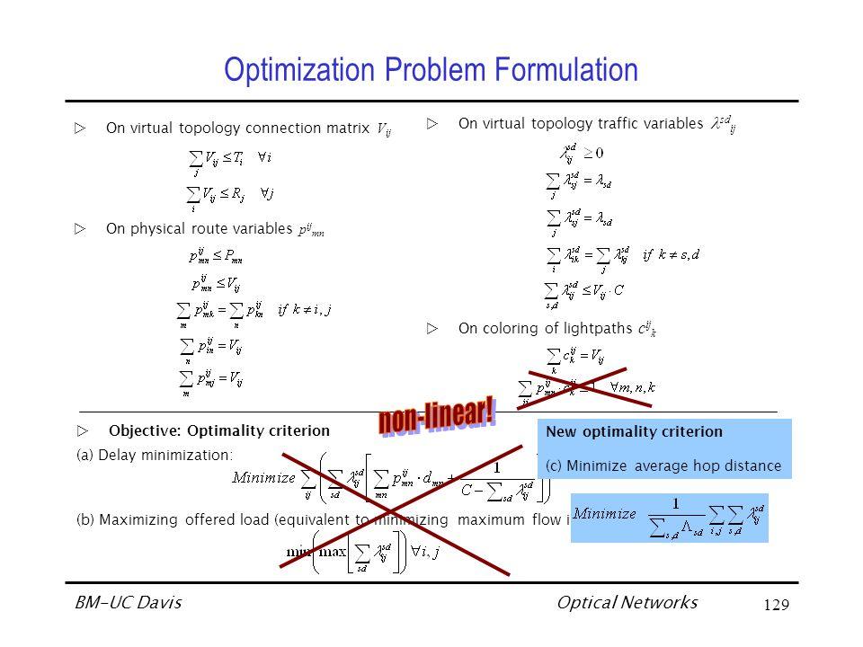 Optical Networks BM-UC Davis130 Solution Approach to Virtual Topology WDM WAN Design 1.