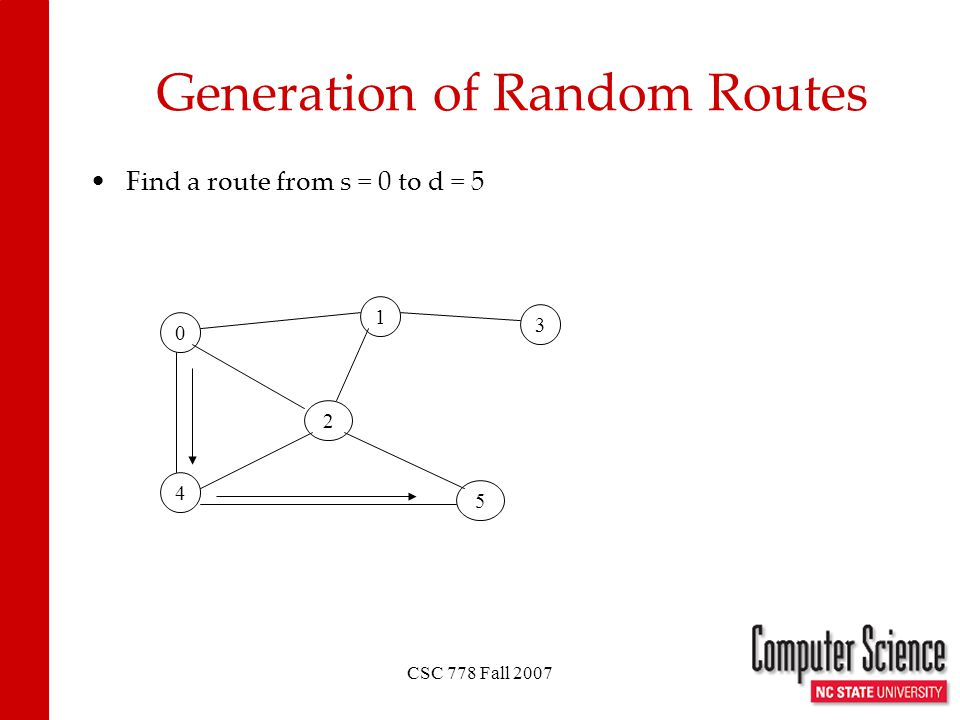 CSC 778 Fall 2007 Generation of Random Routes Find a route from s = 0 to d = 5 0 1 4 2 3 5