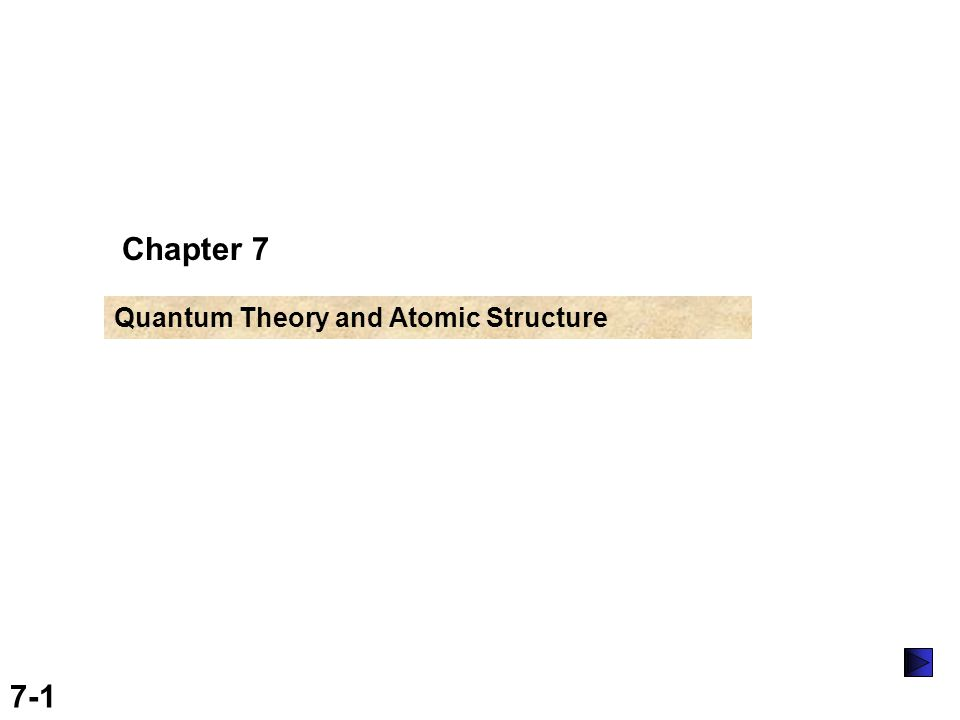 7-1 Chapter 7 Quantum Theory and Atomic Structure