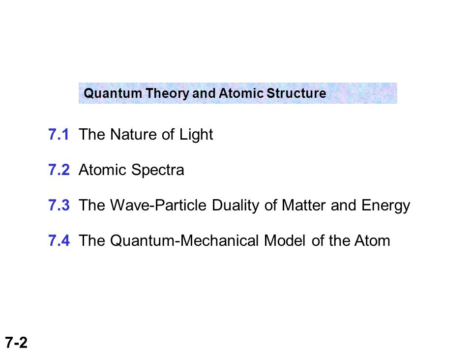 7-2 Quantum Theory and Atomic Structure 7.1 The Nature of Light 7.2 Atomic Spectra 7.3 The Wave-Particle Duality of Matter and Energy 7.4 The Quantum-Mechanical Model of the Atom