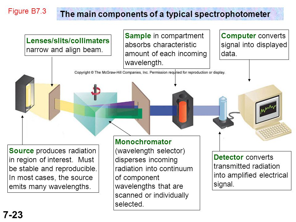 7-23 Figure B7.3 The main components of a typical spectrophotometer Monochromator (wavelength selector) disperses incoming radiation into continuum of component wavelengths that are scanned or individually selected.