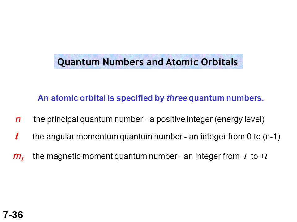 7-36 Quantum Numbers and Atomic Orbitals An atomic orbital is specified by three quantum numbers.