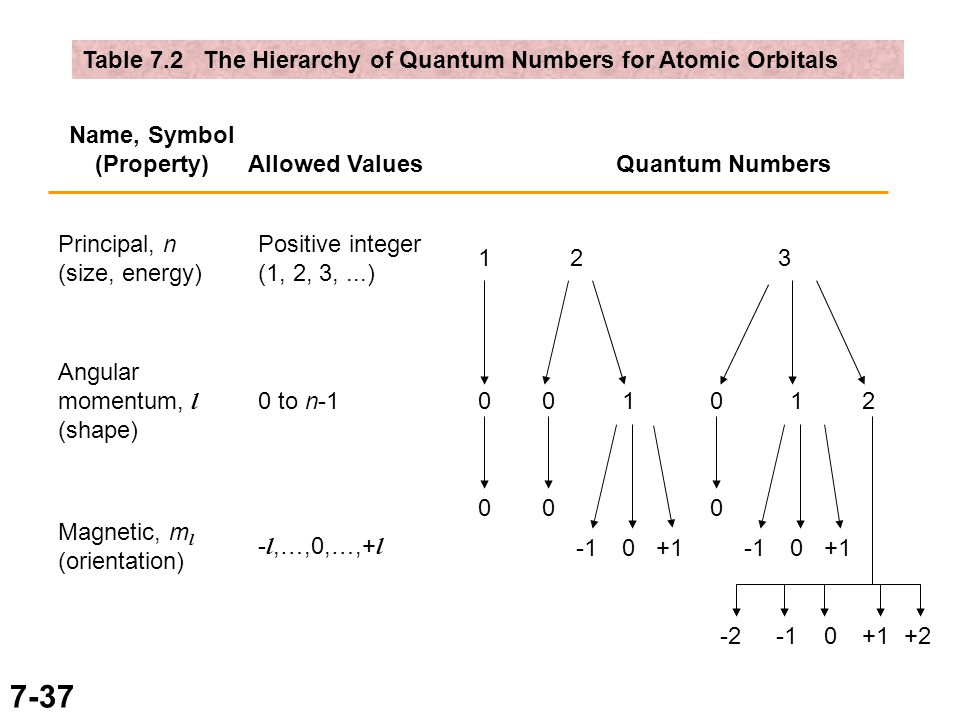 7-37 Table 7.2 The Hierarchy of Quantum Numbers for Atomic Orbitals Name, Symbol (Property) Allowed ValuesQuantum Numbers Principal, n (size, energy) Angular momentum, l (shape) Magnetic, m l (orientation) Positive integer (1, 2, 3,...) 0 to n-1 - l,…,0,…,+ l 1 0 0 2 01 0 3 0 12 0 0 +1 0+1 0 +2-2
