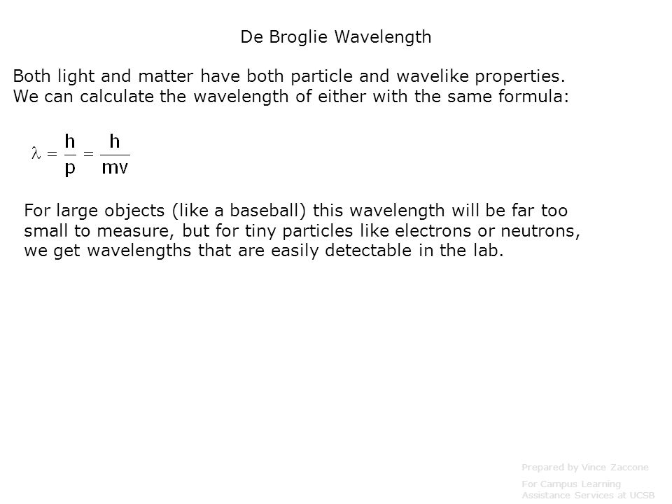 Example: For the electrons in the previous example, their wavelength was 0.123nm.