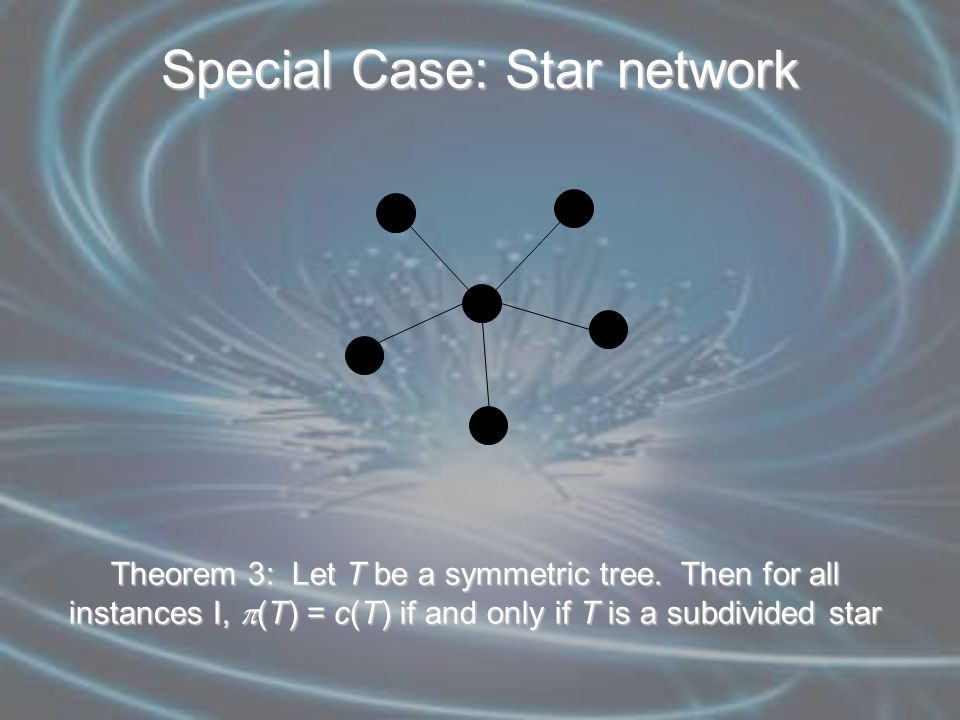 Special Case: Star network Theorem 3: Let T be a symmetric tree.
