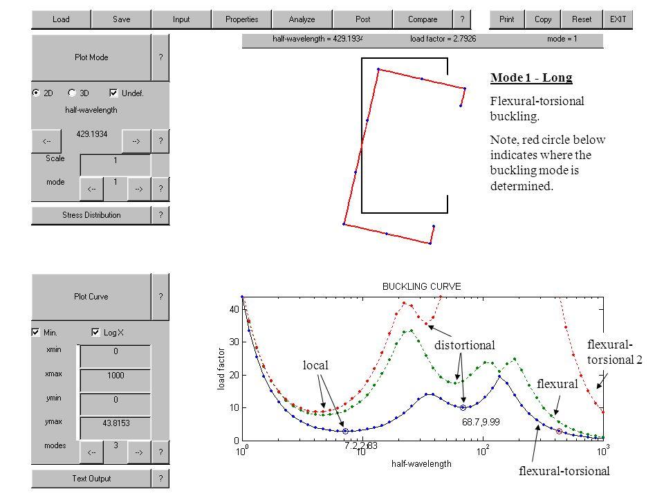 Mode 1 - Long Flexural-torsional buckling.