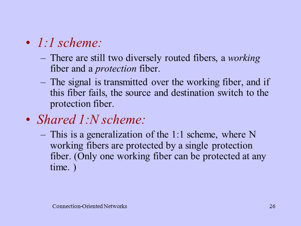Connection-Oriented Networks26 1:1 scheme: –There are still two diversely routed fibers, a working fiber and a protection fiber.