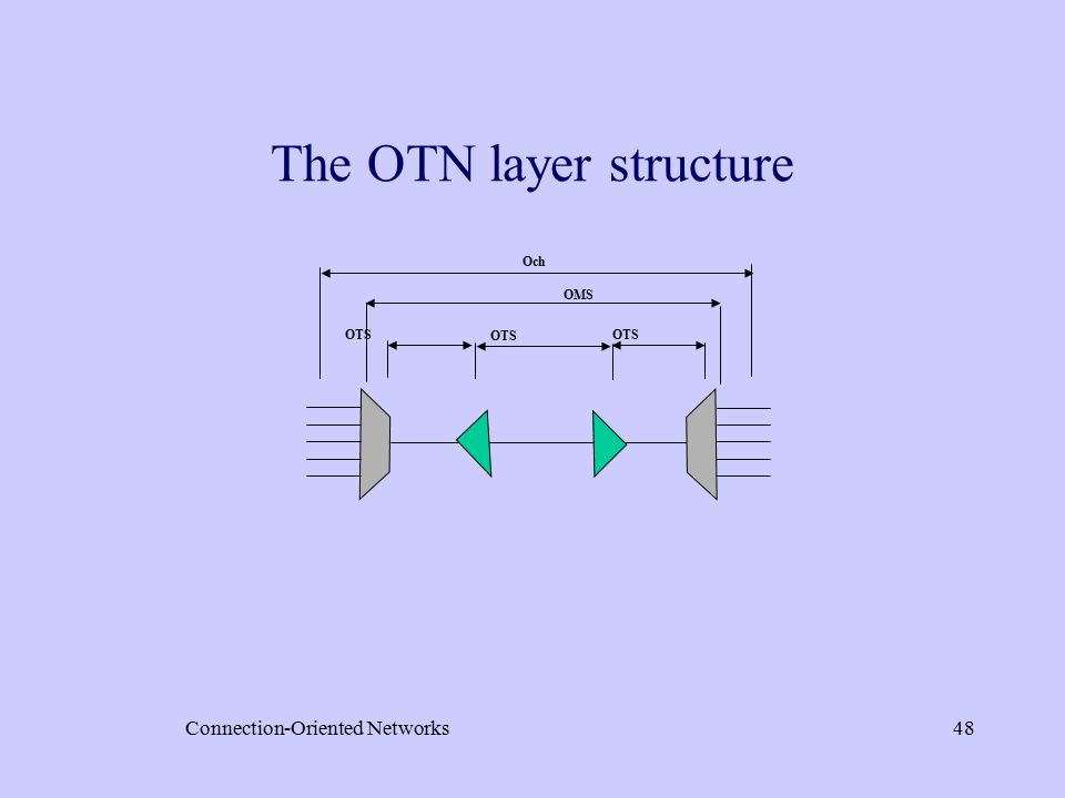 Connection-Oriented Networks48 Och OMS OTS The OTN layer structure