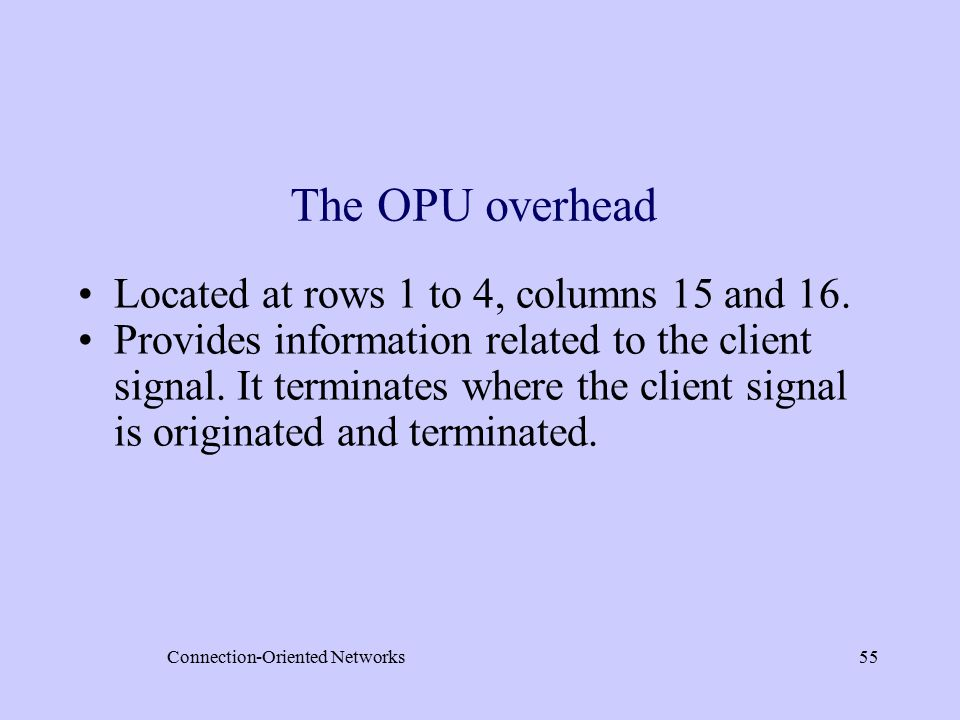Connection-Oriented Networks55 The OPU overhead Located at rows 1 to 4, columns 15 and 16.